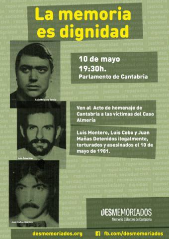 Acto homenaje a las víctimas del Caso Almería en el Parlamento de Cantabria