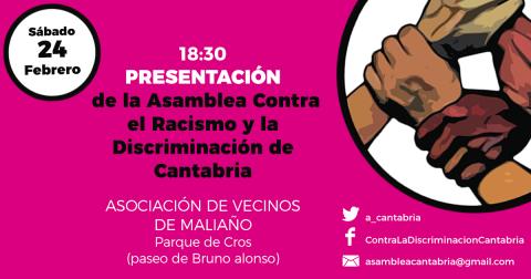 Presentación de la asamblea contra el racismo y la discriminación de Cantabria