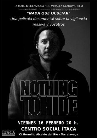 """Proyección del documental sobre la vigilancia masiva: """"Nothing to hide"""" (nada que ocultar)"""