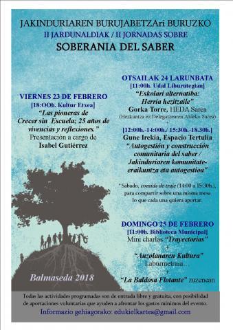 Jornadas sobre soberanía del saber organizadas por Eduki en Balmaseda (Bizkaia)