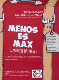 """Presentacion del juego de mesa """"Menos es Max"""" a cargo de sus autoras de la Asociación A Volar"""