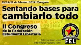 El II congreso de la Federación Estudiantil Libertaria se celebrará en Zaragoza