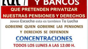 Concentraciones en defensa de las pensiones en Castro Urdiales, Santander, Torrelavega, Laredo, Colindres, Santoña, Maliaño, Reinosa y Cabezón de la Sal
