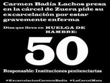Carmen Badía Lachos, 50 días en huelga de hambre. Nueva carta suya desde Zuera